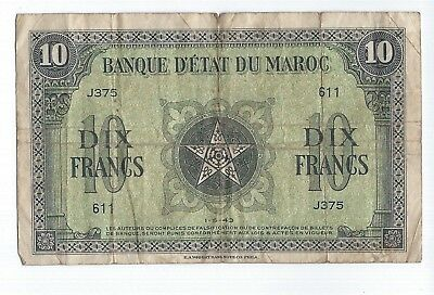 Morocco 10 Francs 1943  P-25 some damage on the top