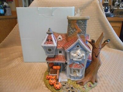 Vintage Party Lite Ghostly Tealight House Retired Original Box And Paperwork