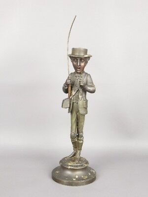 Antique Candlestick French Statue Fisherman Shoe Very Rare Period '800