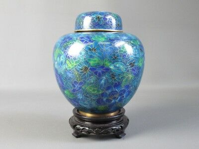 Cloisonne' Precious Jar Chinese Enamelled With Fabulous Colouring Turquoise