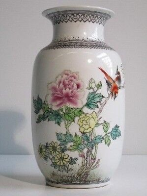20Th End Chinese Porcelain Vase Precious Jar Eastern Painting Birds