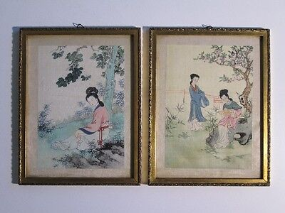 Pair Of Antique Painted Oriental On Fabric Chinese Paint