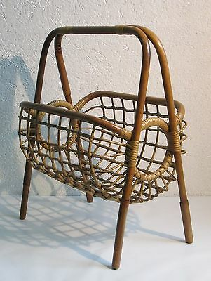 Vintage Magazine Rack Newspapers Design 50's Wooden Bamboo Bamboo'