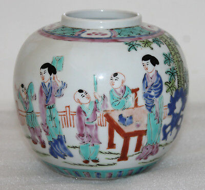 A Superb Late C19th Chinese Cantonese Famille Verte and  Enamel Ginger Jar