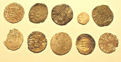 Hungary 10 silver medieval coins  14th-18th century - nice lot    #84