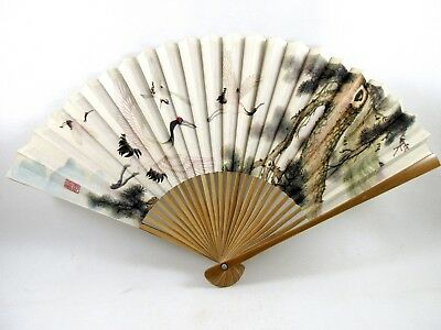 Vintage Bamboo and Asian Paper Painted Birds Ladies Folding Hand Fan