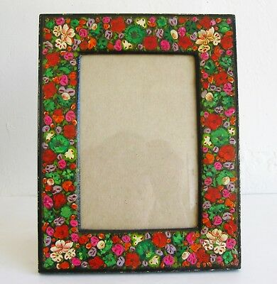 Vintage Russian Lacquer Hand Painted Photo Picture Frame