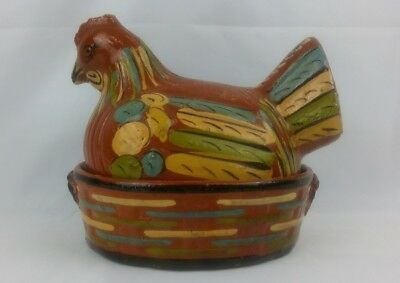 Vintage Mexican Tlaquepaque Chicken Pottery ~ Hand Painted