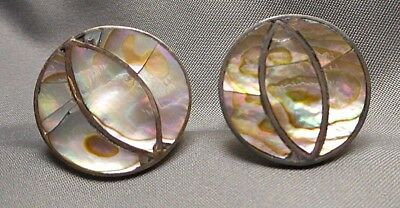 1950s Pair Men's CUFFLINKS - Mexican Sterling Silver Round Abalone Shell Inlay
