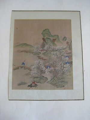 Fine Old Antique Chinese Hand Painted Landscape Mountains Temple Silk Painting