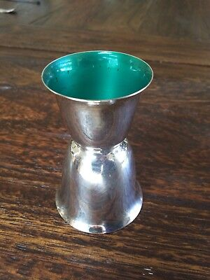 Vintage Reed & Barton Red And Green Enameled Silverplate Jigger 231 Barware