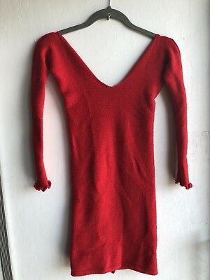 Kd Dance Sweater Dress, Red, Small, Cable Knit