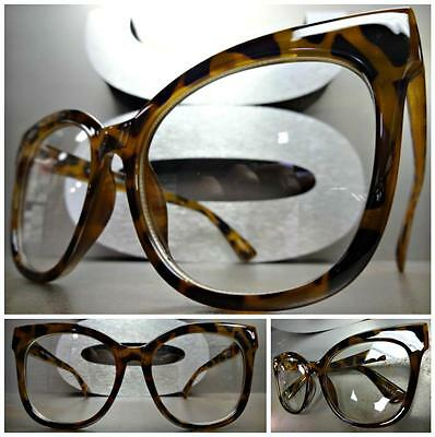 OVERSIZE EXAGGERATED VINTAGE CAT EYE Style Clear Lens EYE GLASSES Tortoise Frame
