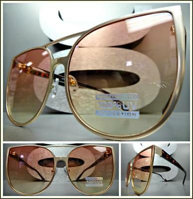 OVERSIZED EXAGGERATED CAT EYE Style SUN GLASSES Rose Gold Frame Pink Yellow Lens