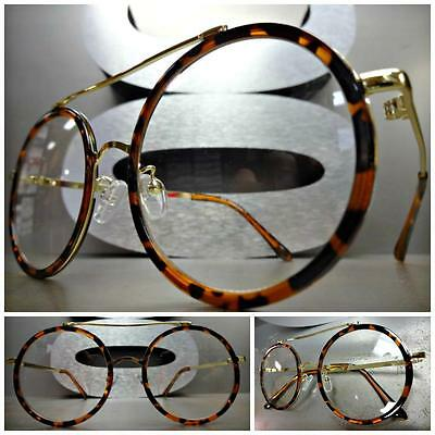 61ffc193be VINTAGE 60s RETRO Style Clear Lens EYE GLASSES Round Tortoise Gold Fashion  Frame
