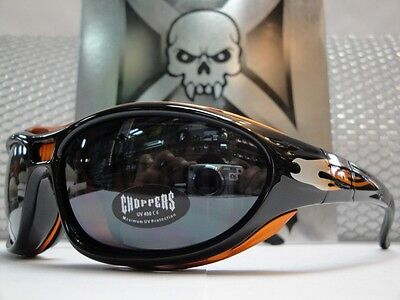 MOTORCYCLE BIKER RIDING CHOPPERS SUN GLASSES Padded GOGGLES Black & Orange Frame