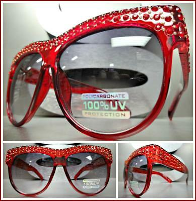 OVERSIZED VINTAGE RETRO Style SUN GLASSES Red Frame Bling Crystals Gold Studs