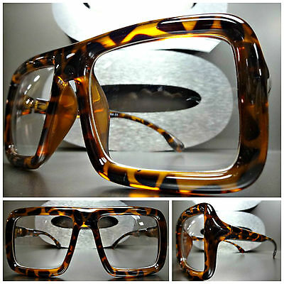 Men's Women LARGE VINTAGE RETRO Style NERD CLEAR LENS EYE GLASSES Tortoise FRAME