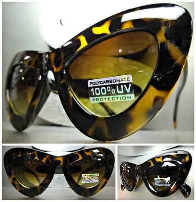 CLASSIC VINTAGE 60's RETRO EXAGGERATED CAT EYE Style SUN GLASSES Tortoise Frame