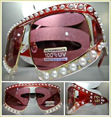 OVERSIZED EXAGGERATED RETRO Style SUN GLASSES Red & Gold Frame Pearls HANDMADE
