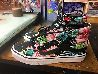928ed62774 NEW WOMEN VANS Hawaiian Floral White Pink Shoes Sneakers Off The ...