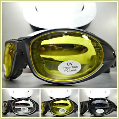 Men's MOTORCYCLE BIKER Padded RIDING SUN GLASSES GOGGLES Black Frame with Strap
