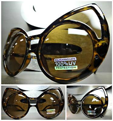 UNIQUE VINTAGE RETRO EXAGGERATED CAT EYE Style SUN GLASSES Huge Tortoise Frame