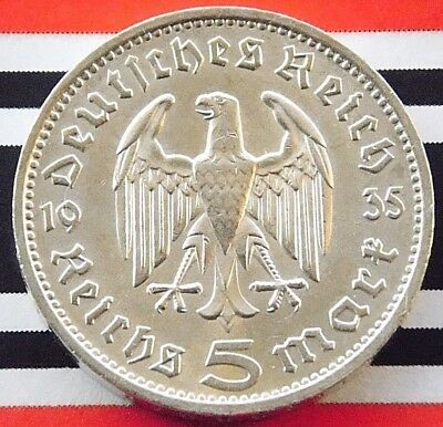GERMAN Coin 1935 F 5 MARK REICHSMARK EAGLE Hindenburg Silver 3RD REICH WW2 +NICE