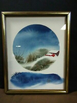 """Beautiful Vtg.Original Victor Ing Watercolor """"Abstract Winter Landscape""""Painting"""