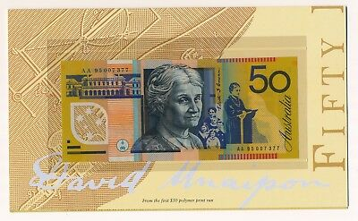 Australia $50 1995 Note With Overprint In Folder 1st Prefix AA95 007377  UNC