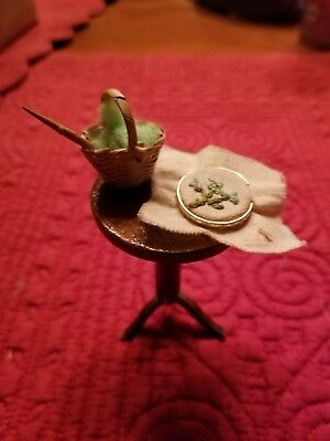 Vintage Dollhouse Miniature Cross stitch Hoop with Round Side Table Yarn Basket