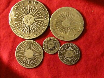 Set of 1815 Argentina Real Silver Coins, 8, 4, 2, 1 and 1/2 Real, various grades