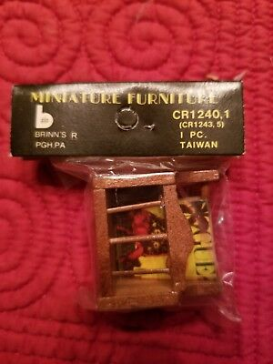 Dollhouse Miniature Magazine Rack Wooden Vintage NEW in Package w 2 magazines