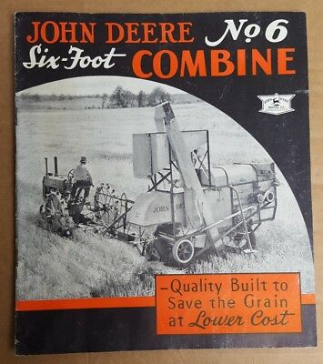 John Deere no. 6 six foot combine brochure 1936 advertising farm collectible
