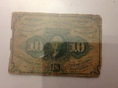 1862 - 1863 10 Cent First Issue Postage Currency F# 1242