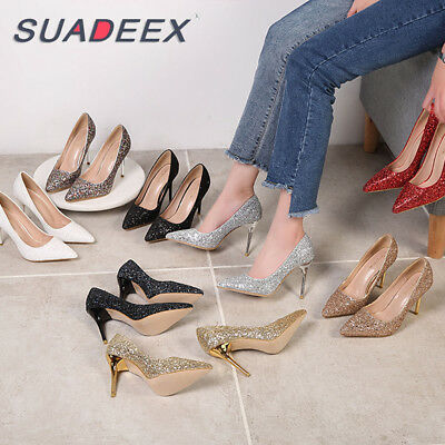 Womens Pointed Toe Sequins Wedding Bridal Bridesmaid High Heel Party Prom Shoes