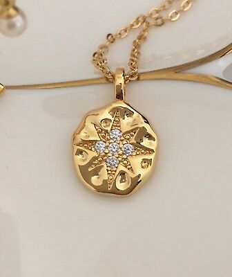 Gold Plated 925 sterling silver North Star Pendant Necklace