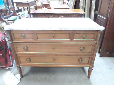 French Louis XVI Chests of Drawer / Commode White Marble Top