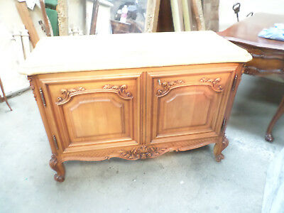 French Louis XV Buffet Bas Cabinet with Heavy Alep Marble Top