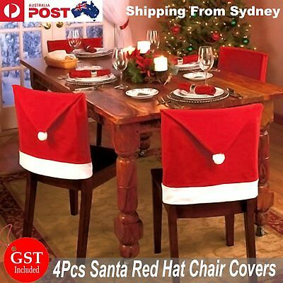 4x Christmas Chair Covers Dinner Table Santa Hat Home Decorations Ornaments Gift