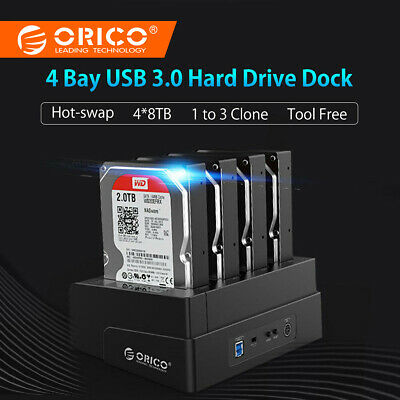 "ORICO 4 Bay 2.5"" & 3.5"" Hard Drive Clone Dock HDD SDD Docking Station 5Gbps Read"