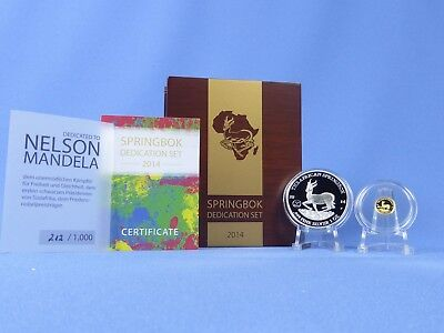 Gabun Springbok Dedication Set 2014 ,Gold+Silber  *PP/Proof*,OVP  (17376 )