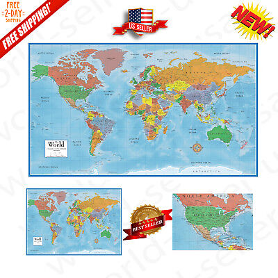World Classic Huge Large Laminated Wall Map 48x78  Poster Home Office School NEW