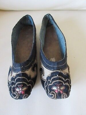 Genuine Antique Vintage c.1900 Small Chinese Silk Lotus Shoes for Bound Feet