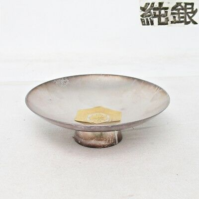 G294: Real Japanese SAKE cup of pure silver JUN-GIN with stamp. 67g