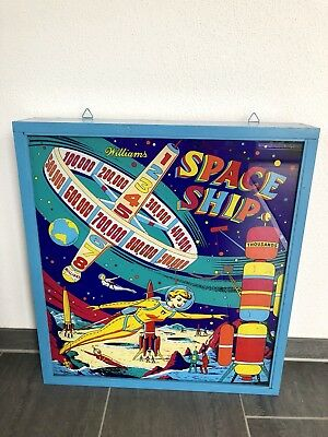 Original Williams Space Ship Flipperscheibe Pinball Backglas 1961 Glasscheibe