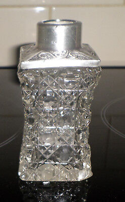 Antique Glass Scent Bottle~Sterling Silver Top~Hallmarked