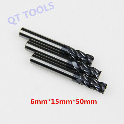 3 Pcs 4 Flute 6mm x 50mm End Mill Solid Carbide Tialn Coated Cnc Bit Tool