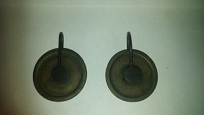 pair of antique grandfather clock weight pulleys
