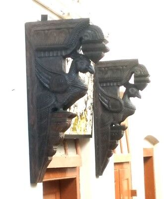 Wall Corbel Pair Wooden Bracket Peacock Parrot Sculpture Home Decor Shelve Rare